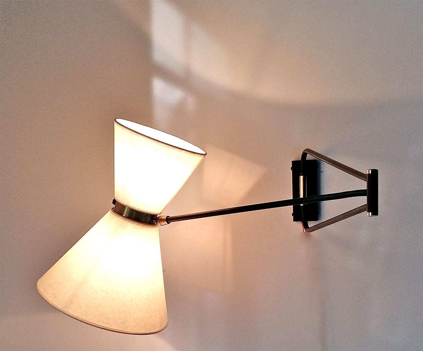 Lampe avec applique vintage en laiton france s en vente sur