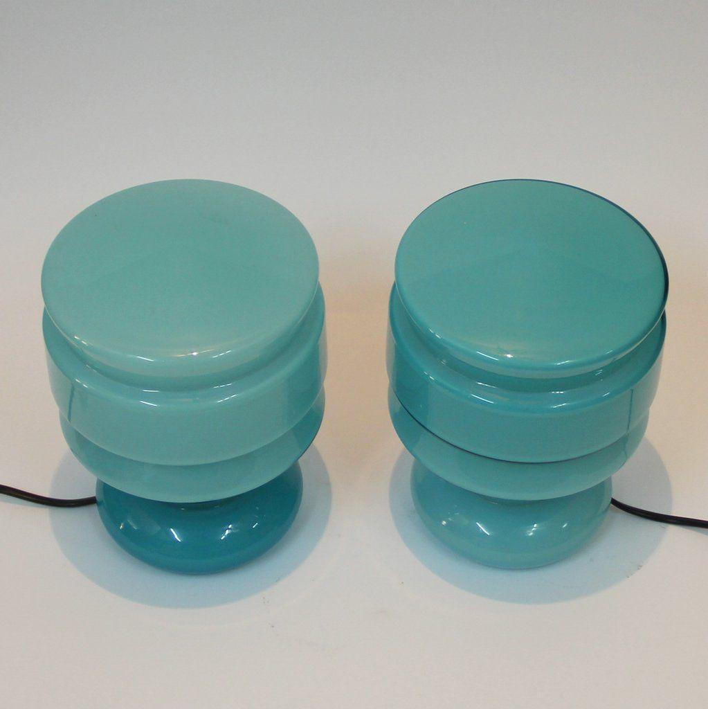 italienische vintage lampen aus blauem milchglas 2er set bei pamono kaufen. Black Bedroom Furniture Sets. Home Design Ideas