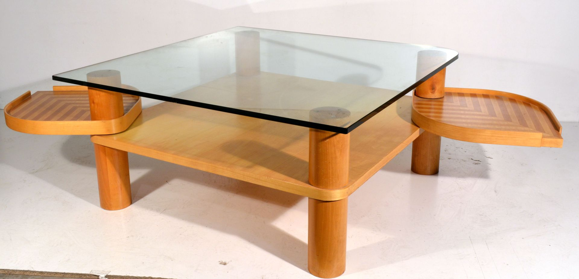 Italian Maple And Glass Coffee Table For Sale At Pamono