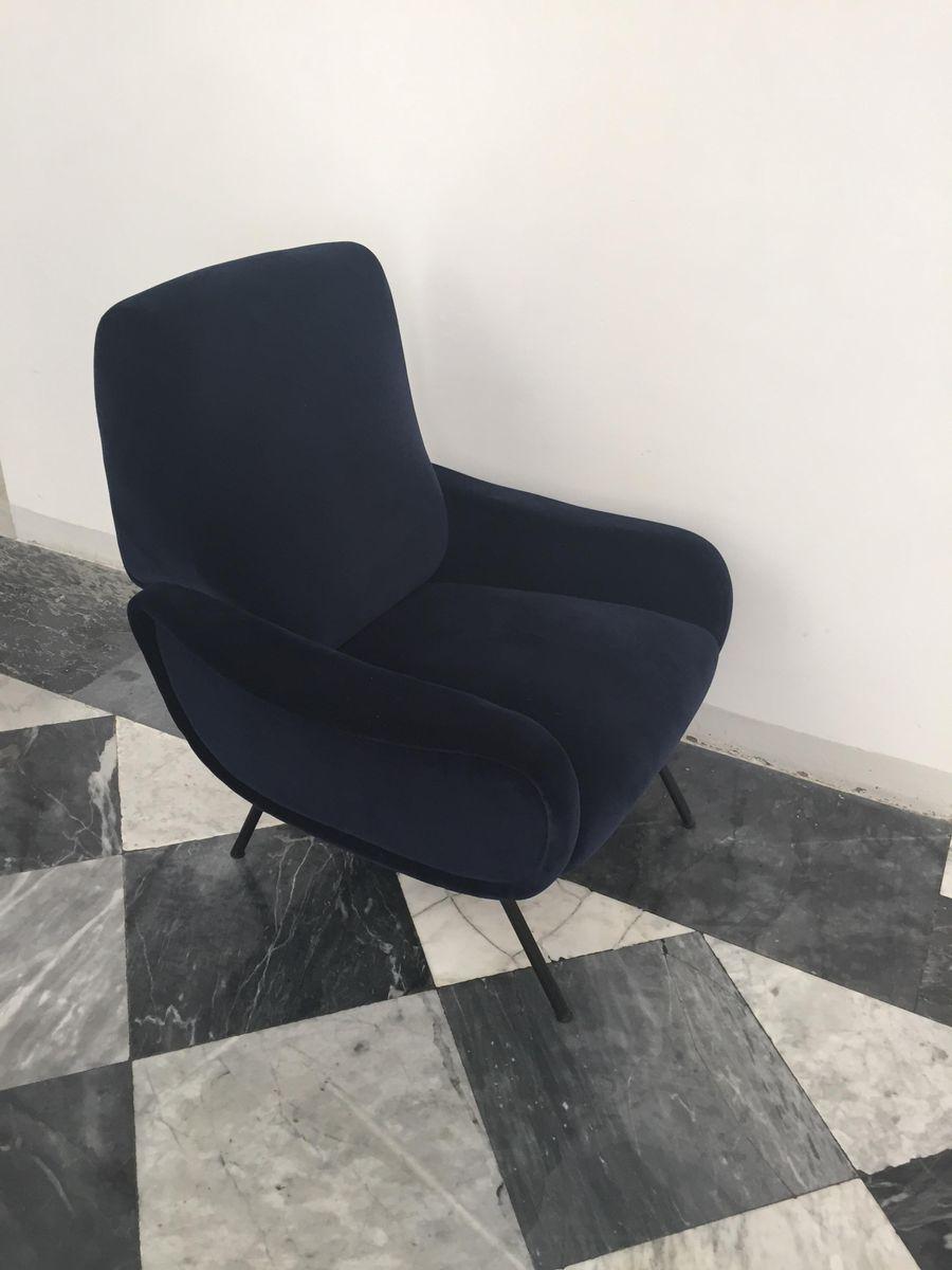 dunkelblauer italienischer samt sessel von marco zanuso. Black Bedroom Furniture Sets. Home Design Ideas