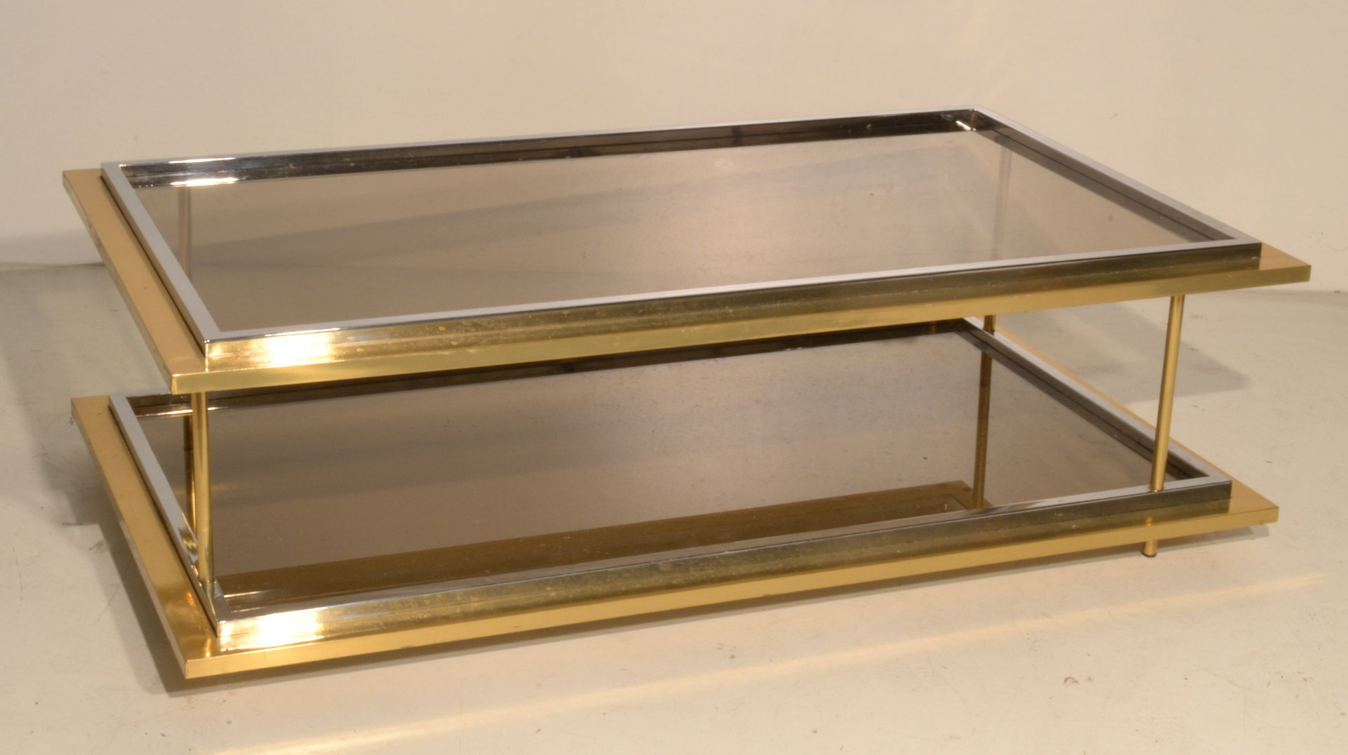 Vintage Italian Glass & Brass Coffee Table 1970s for sale at Pamono