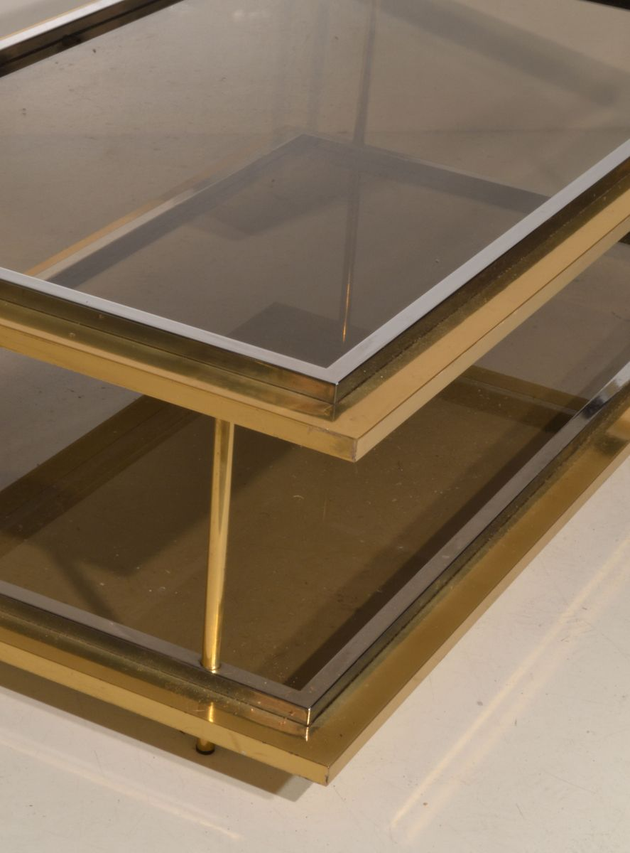 Vintage Italian Glass Brass Coffee Table 1970s For Sale At Pamono