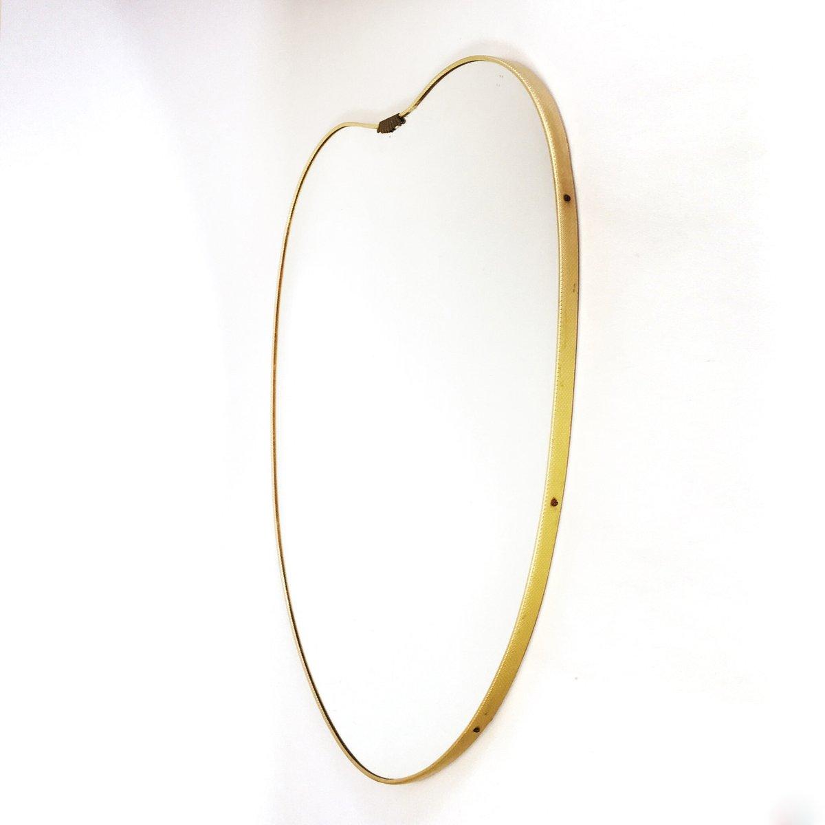 italienischer spiegel mit goldenem aluminium rahmen 1950er bei pamono kaufen. Black Bedroom Furniture Sets. Home Design Ideas