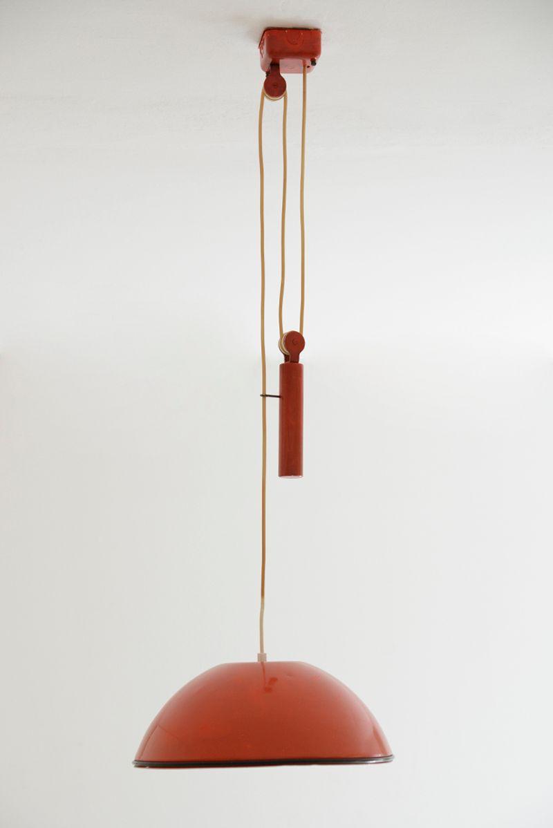 Vintage red relemme pendant lamp by achille castiglioni for Castiglioni light