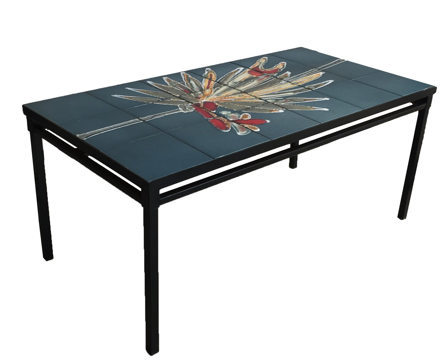 ceramic and black metal coffee table 1950s for sale at pamono. Black Bedroom Furniture Sets. Home Design Ideas