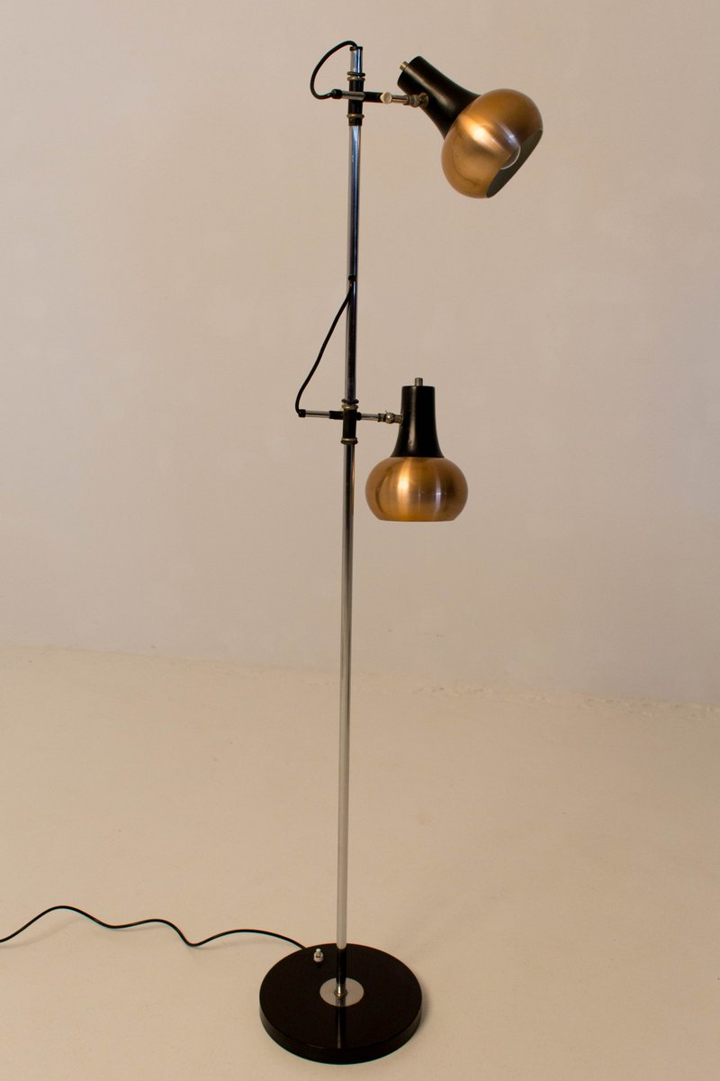 mid century modern copper floor lamps 1970s set of 2 for sale at pamono. Black Bedroom Furniture Sets. Home Design Ideas