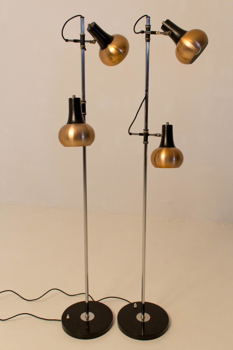 century modern copper floor lamps 1970s set of 2 for sale at pamono. Black Bedroom Furniture Sets. Home Design Ideas