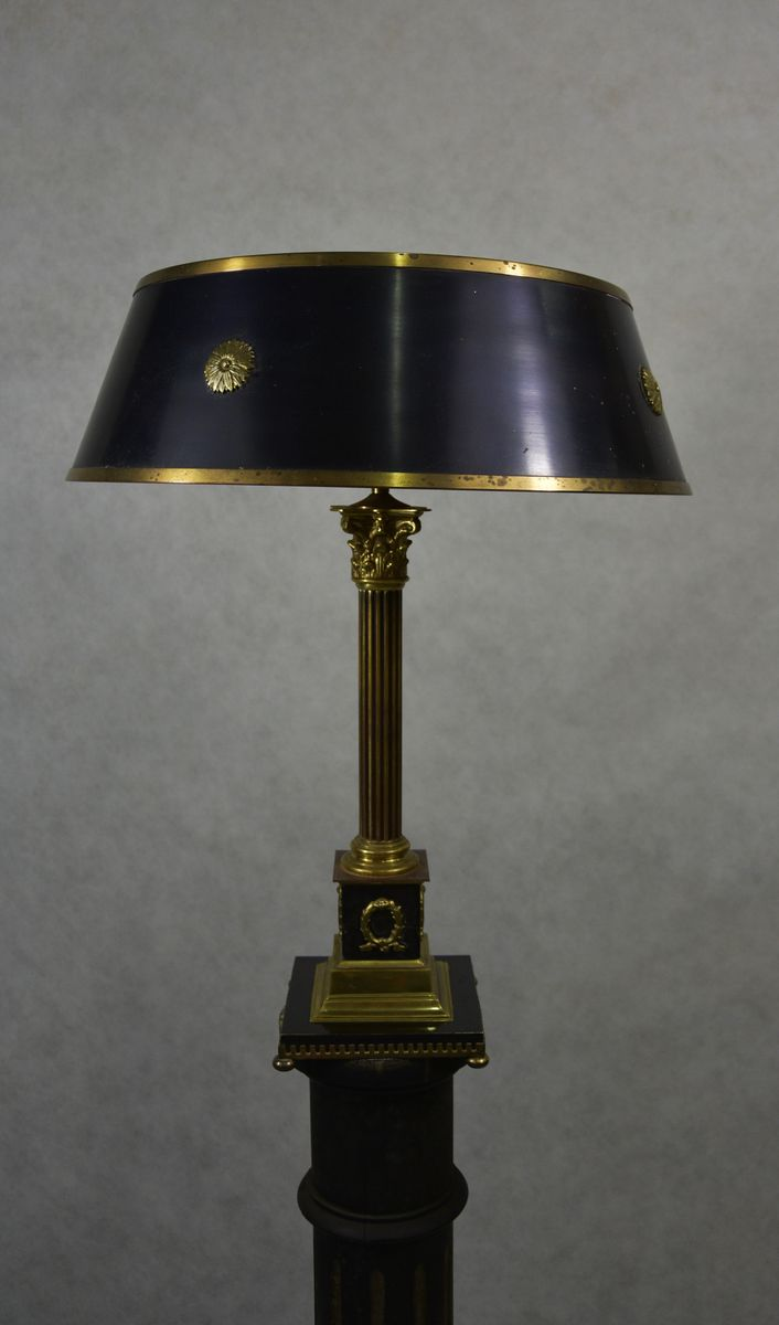 Gustavian Style Swedish Brass Table Lamp 1930s For Sale