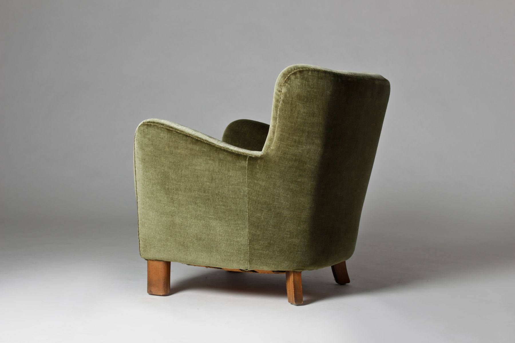 Danish Velour Club Chair from Fritz Hansen 1940s for sale at Pamono