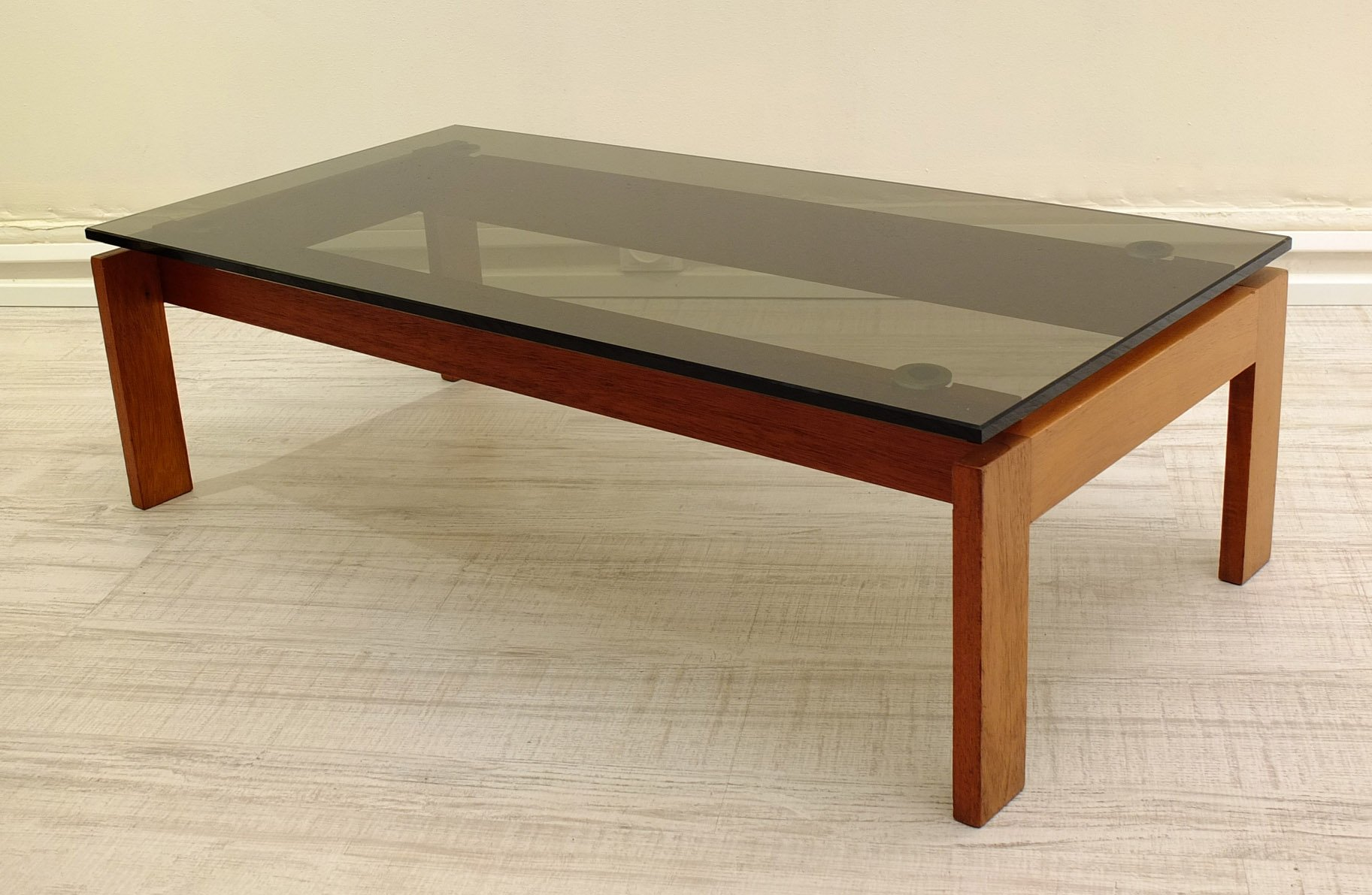 Danish Teak And Smoked Glass Coffee Table, 1970s