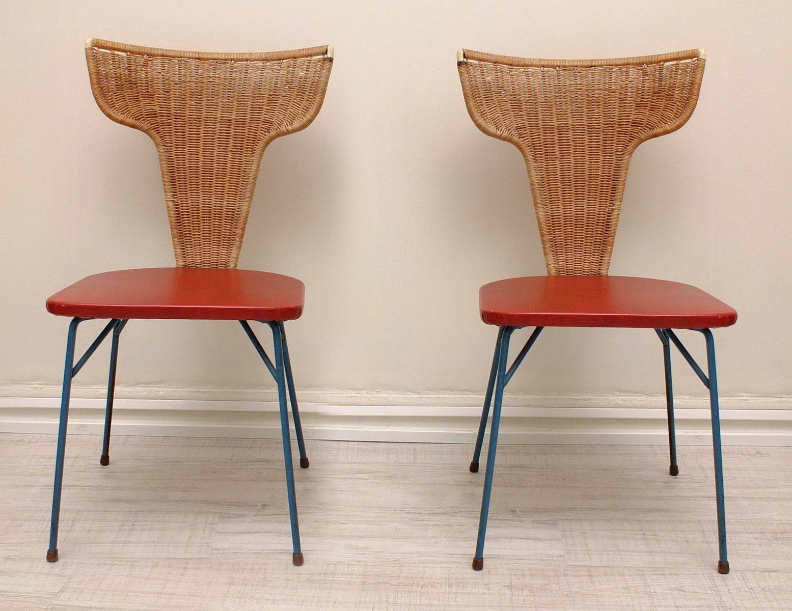 italienische st hle aus eisen rattan 1950er 2er set. Black Bedroom Furniture Sets. Home Design Ideas