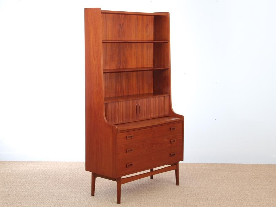 d nischer mid century teak sekret r mit regal 1950er bei. Black Bedroom Furniture Sets. Home Design Ideas