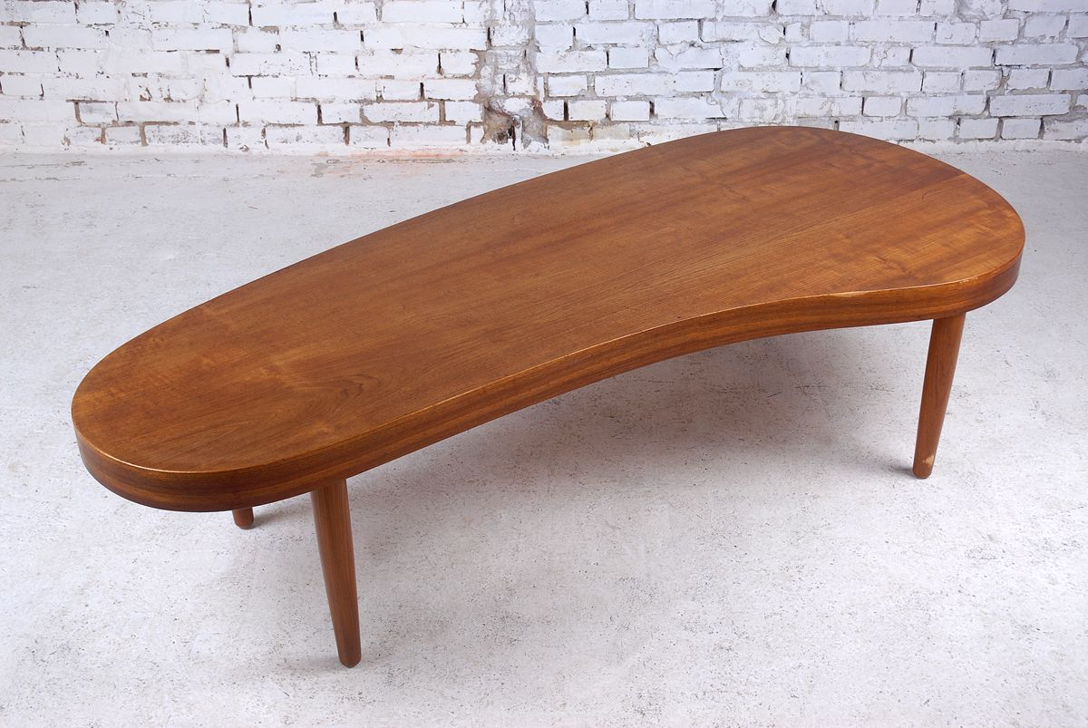 Mid Century Kidney Shaped Teak Coffee Table 1950s For Sale At Pamono