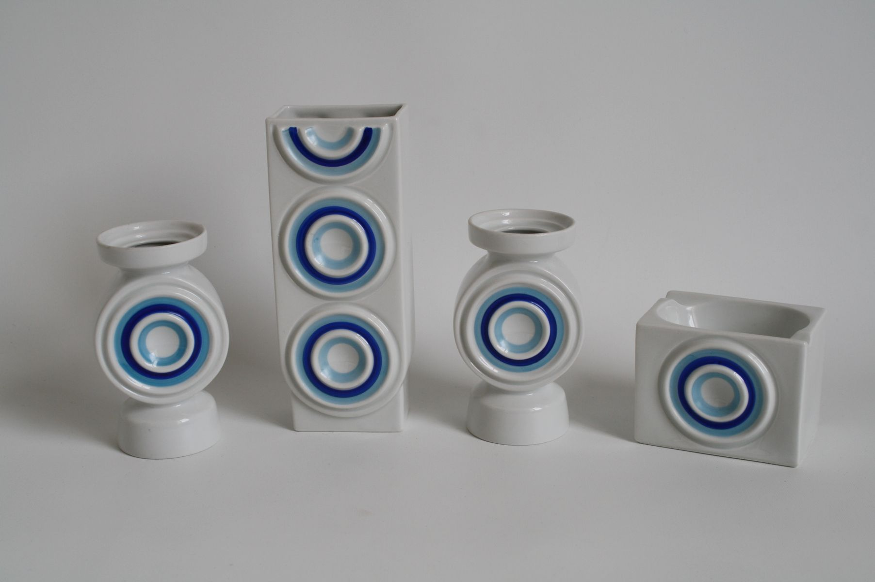 op art german porcelain vases and ashtray from plankenhammer 1960s set of 4 for sale at pamono. Black Bedroom Furniture Sets. Home Design Ideas