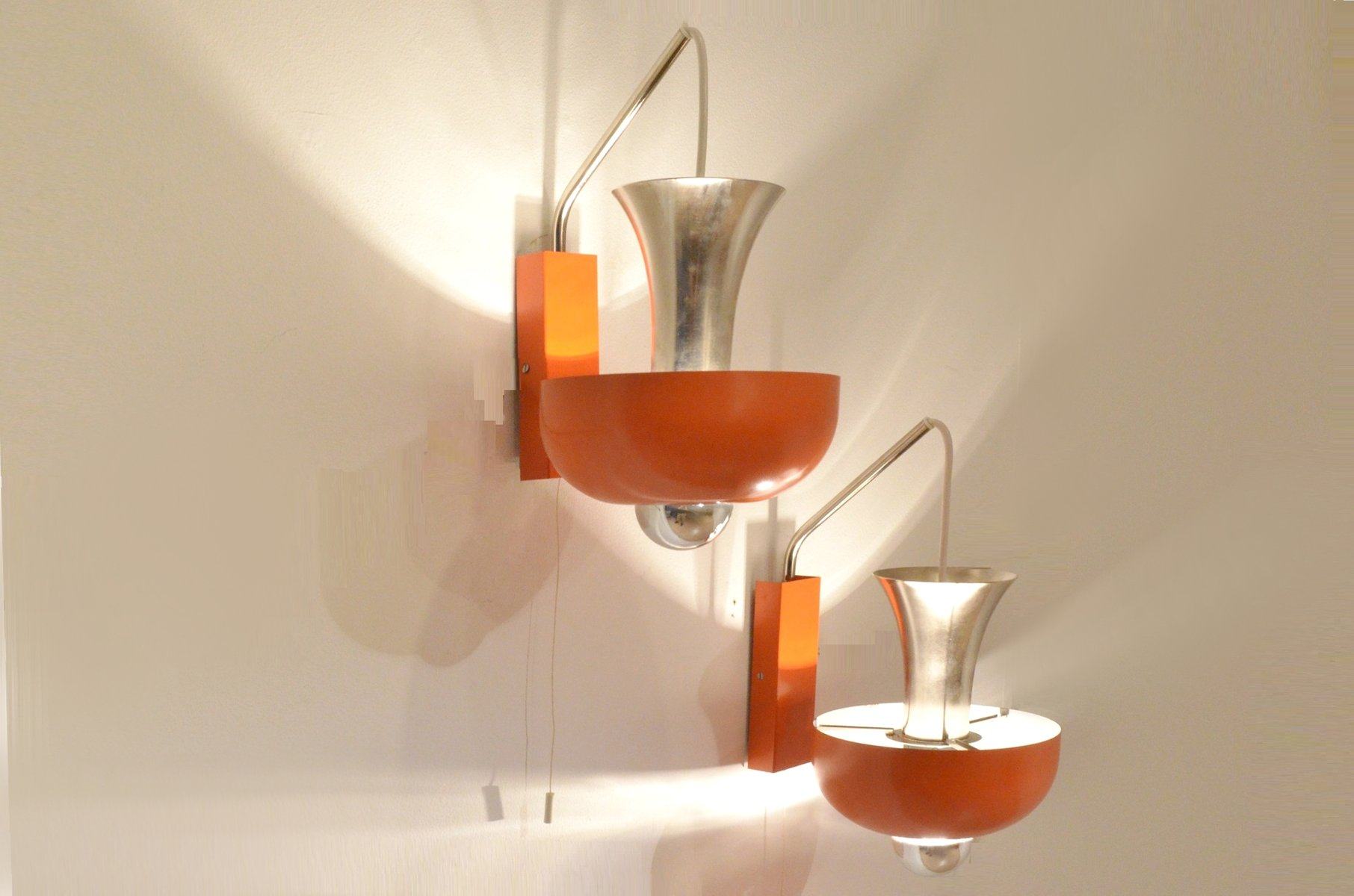 Danish Design Space Age Orange & Chrome Wall Lamps, Set of 2 for sale at Pamono