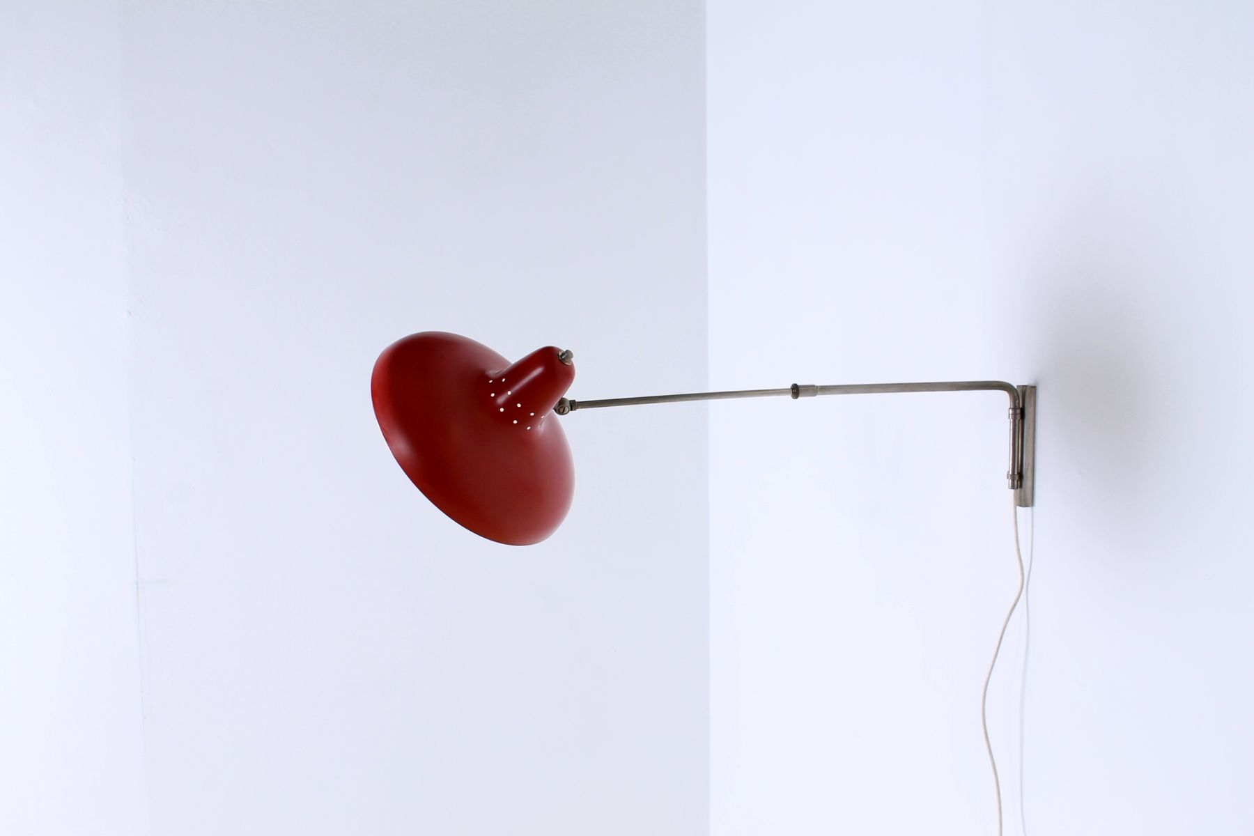 Vintage Red Metal Wall Light by H. Fillekes for Artifort for sale at Pamono