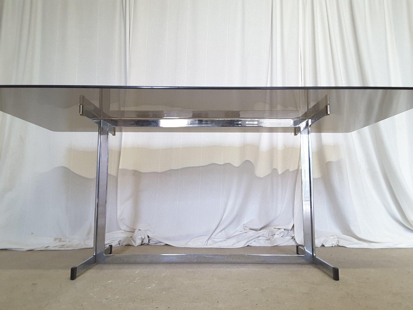 grande table de salle manger en chrome par tim bates pour pieff de worcester angleterre. Black Bedroom Furniture Sets. Home Design Ideas