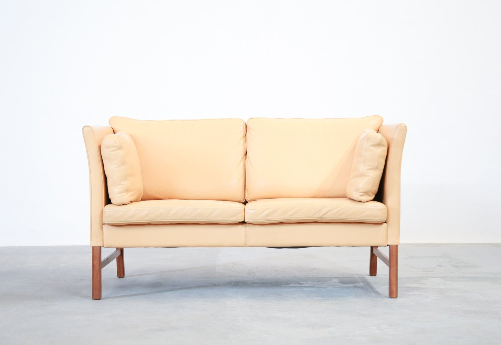 Danish beige leather 2 seater sofa 1970s for sale at pamono for Beige leather sectional sofa sale