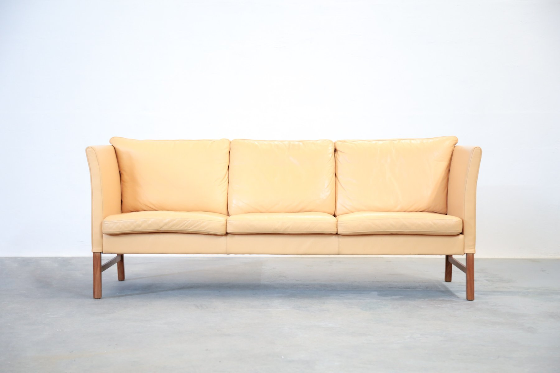 Danish Beige Leather 3 Seater Sofa 1970s For Sale At Pamono