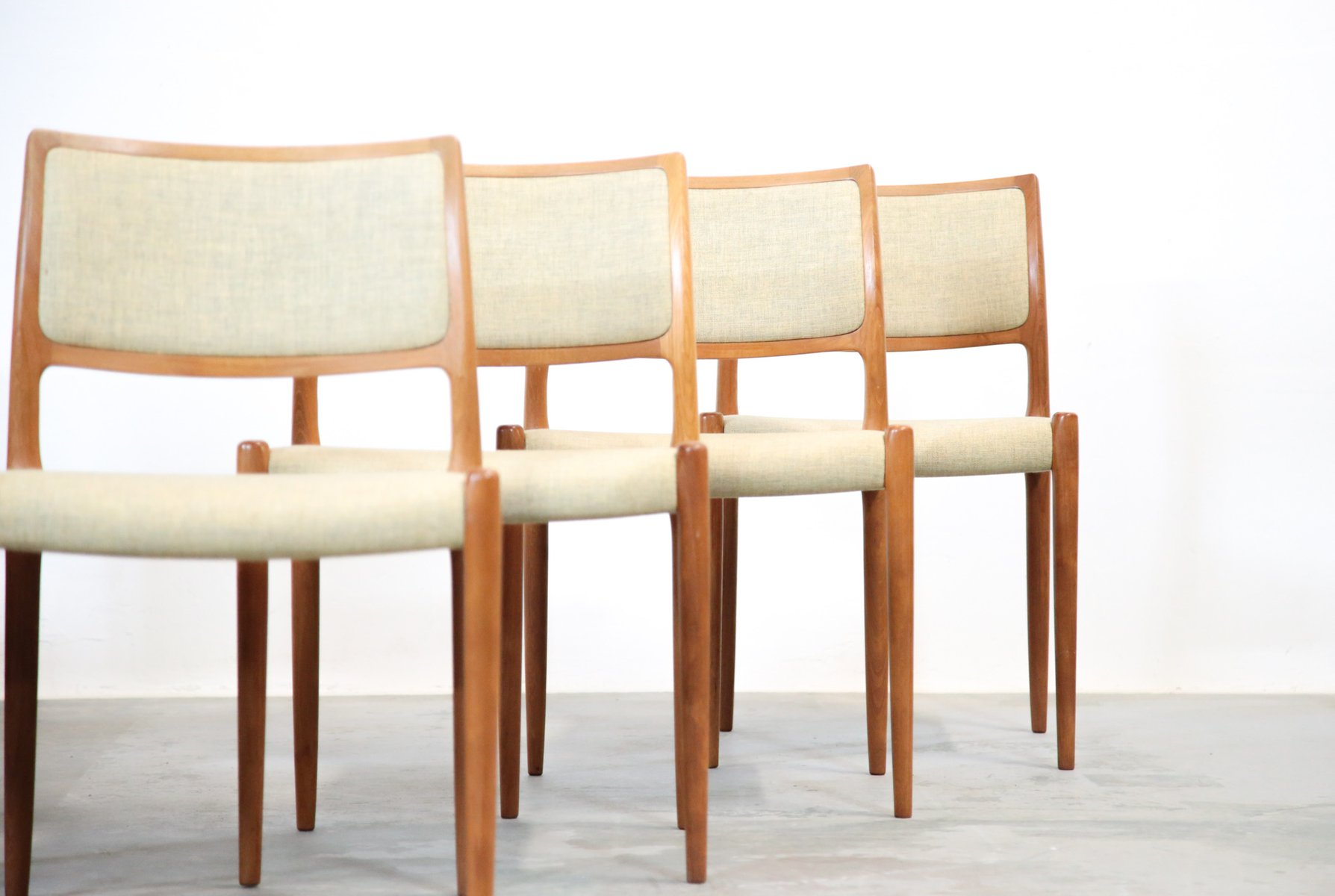 Mid century danish model 80 chairs by niels otto m ller for 80s furniture for sale