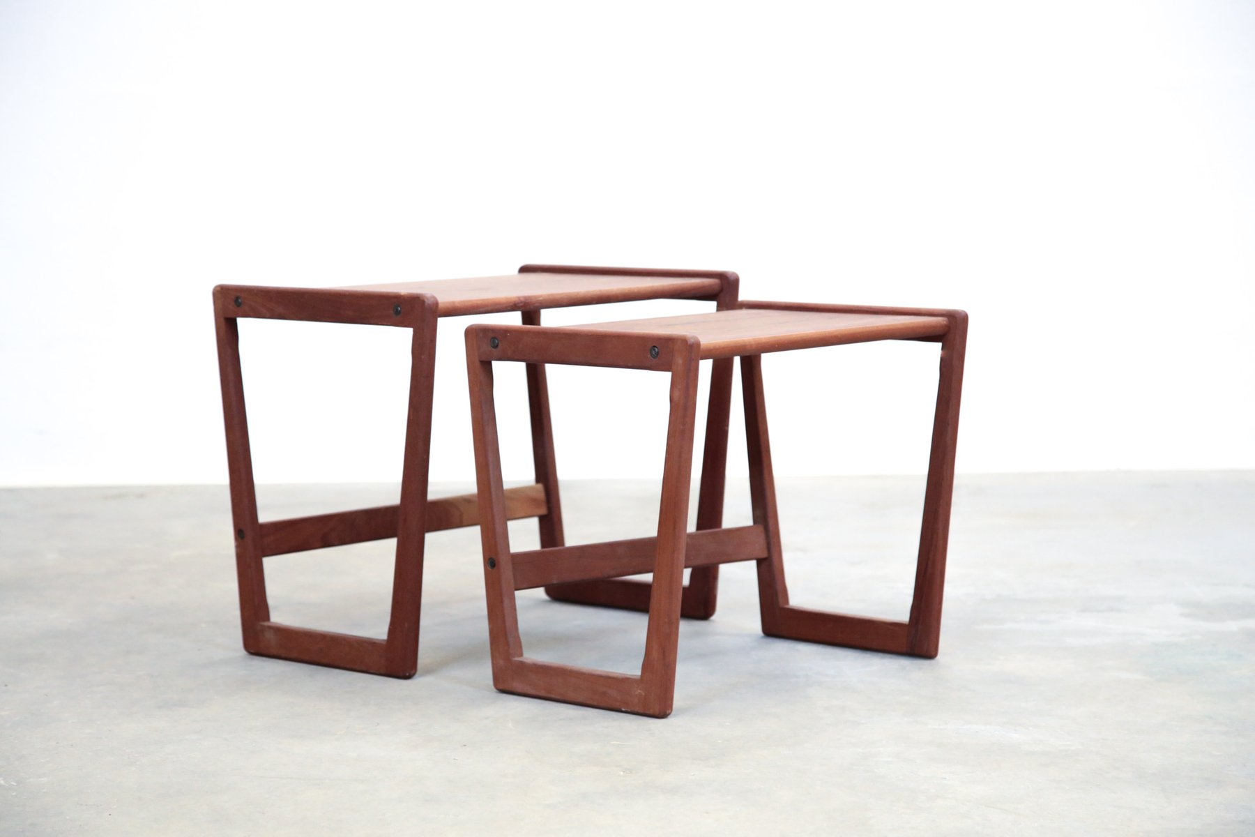 Amazing photo of Mid Century Scandinavian Teak Nesting Tables for sale at Pamono with #431F1C color and 1801x1200 pixels