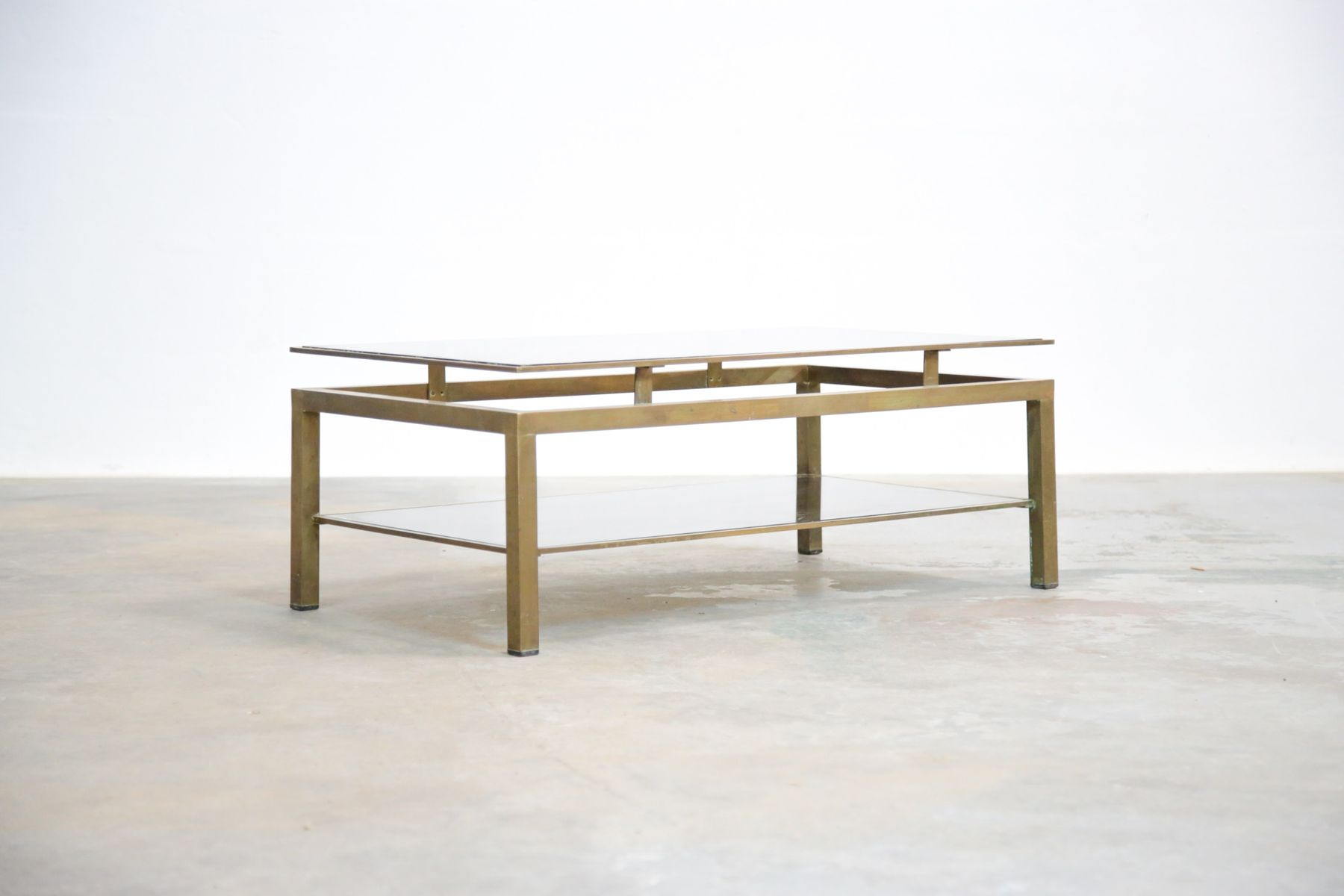 French Brass Coffee Table By Guy Lefebvre For Maison Jansen 1950s For Sale At Pamono