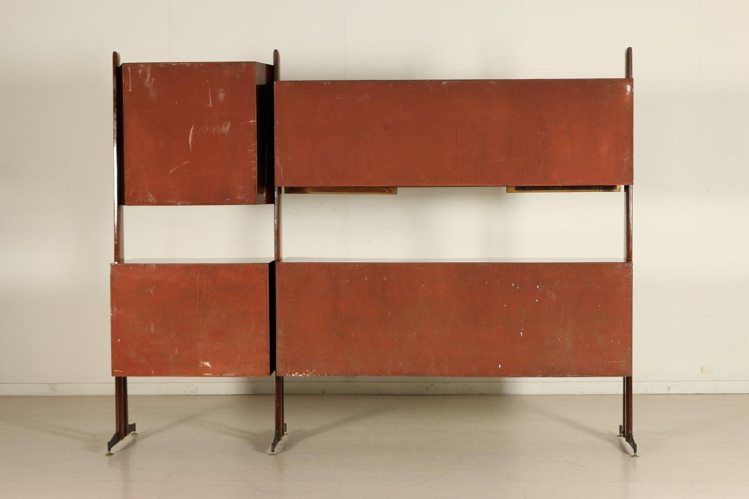 Italienischer Mahagoni Wohnzimmerschrank 1950er 10 Ausverkauft