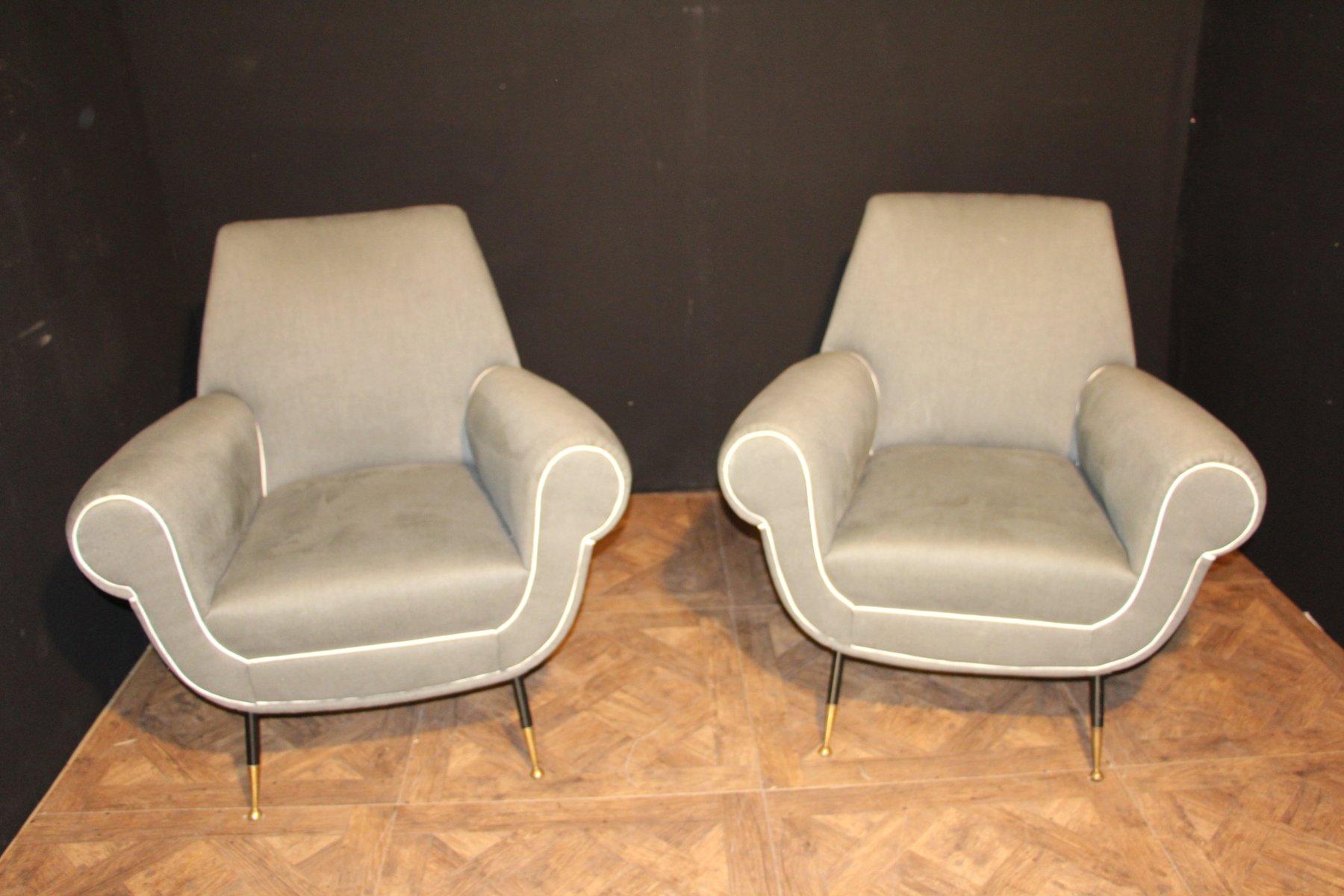 Graue italienische sessel 1950er 2er set bei pamono kaufen for Italienische sessel design