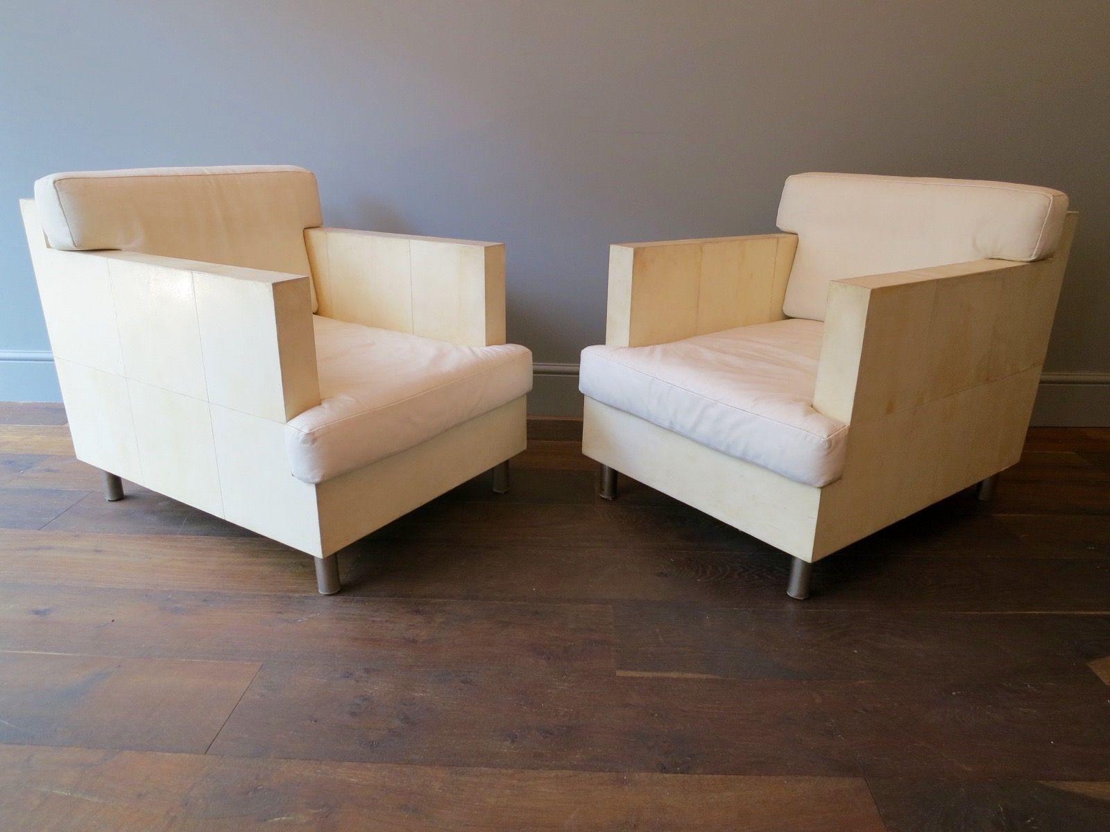 franz sische vintage sessel aus pergament leder von r y. Black Bedroom Furniture Sets. Home Design Ideas