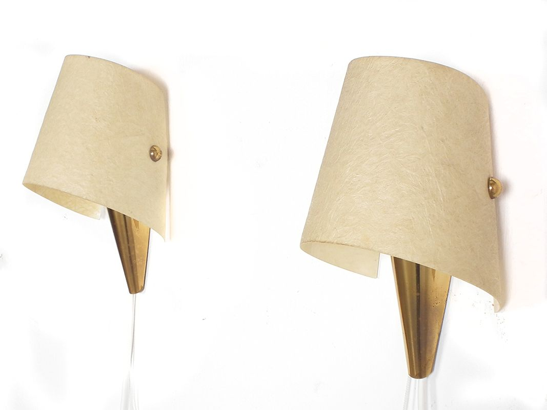Brass Wall Lights With Shades : Mid-Century Brass Wall Lights with Cream Shades, Set of 2 for sale at Pamono