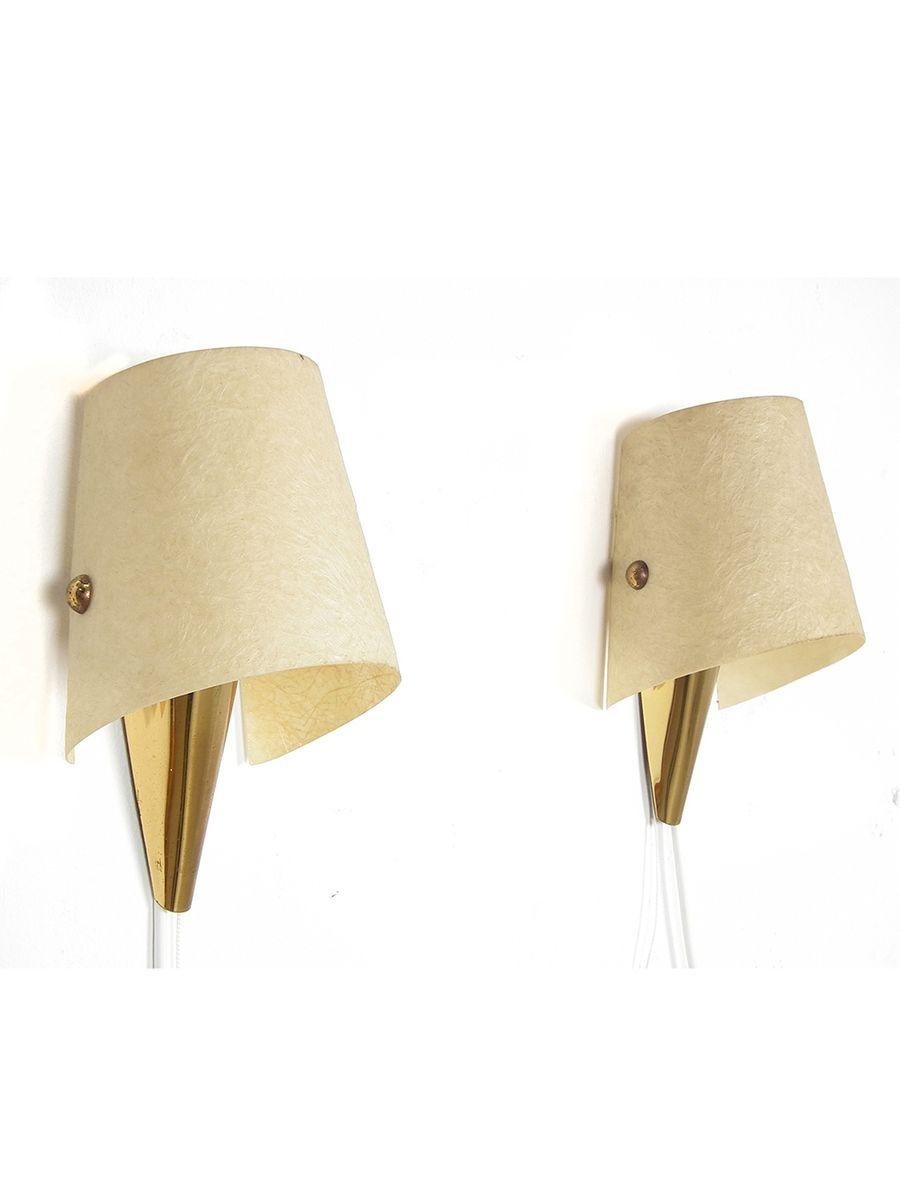 Brass Wall Lights With Shades : Mid-Century Brass Wall Lights with Cream Shades, Set of 2 for sale at Pamono