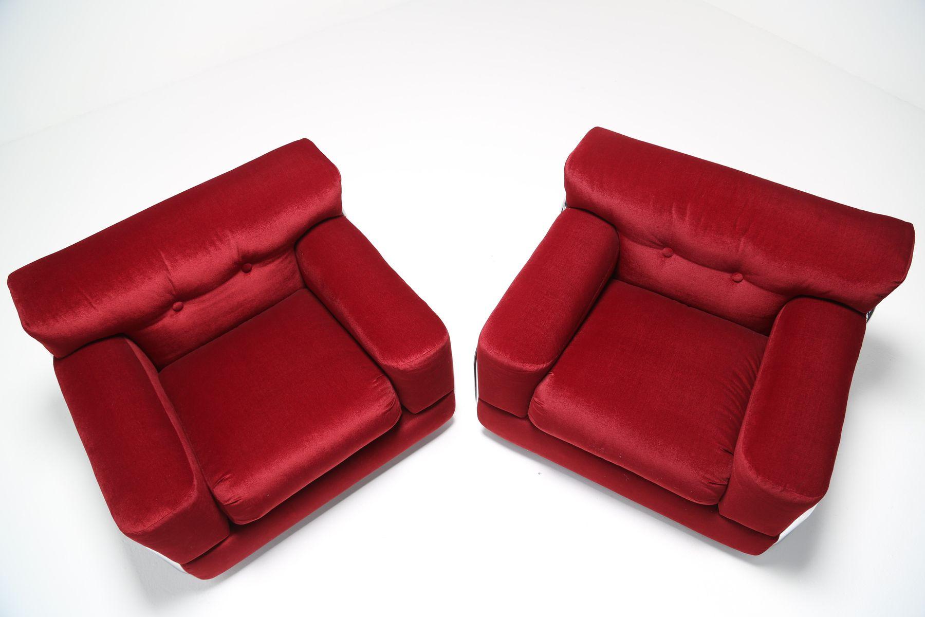 Rote samt sessel mit chrom rohrgestell 1970er 2er set for Sessel rot samt