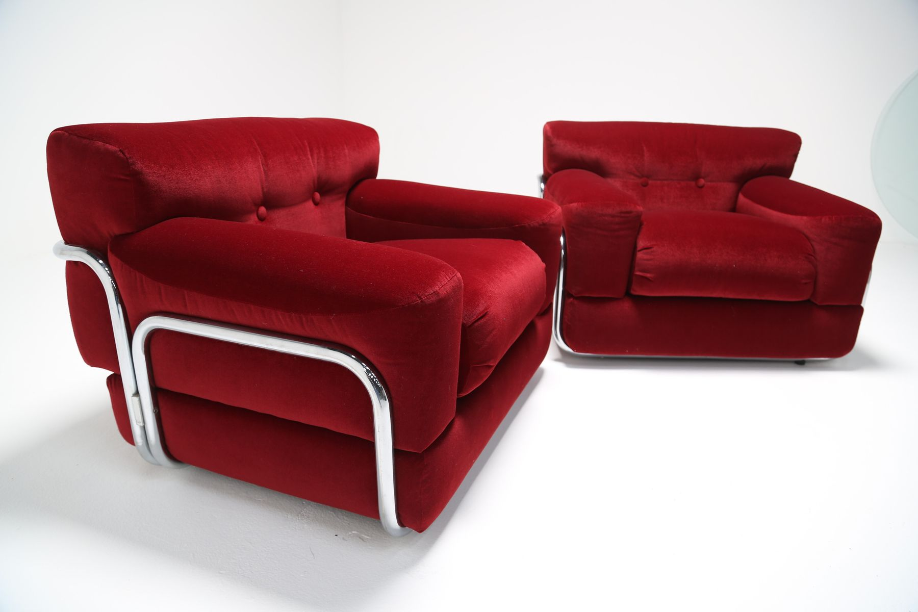 Red Velvet Lounge Chairs with Tubular Chrome Frame 1970s Set of