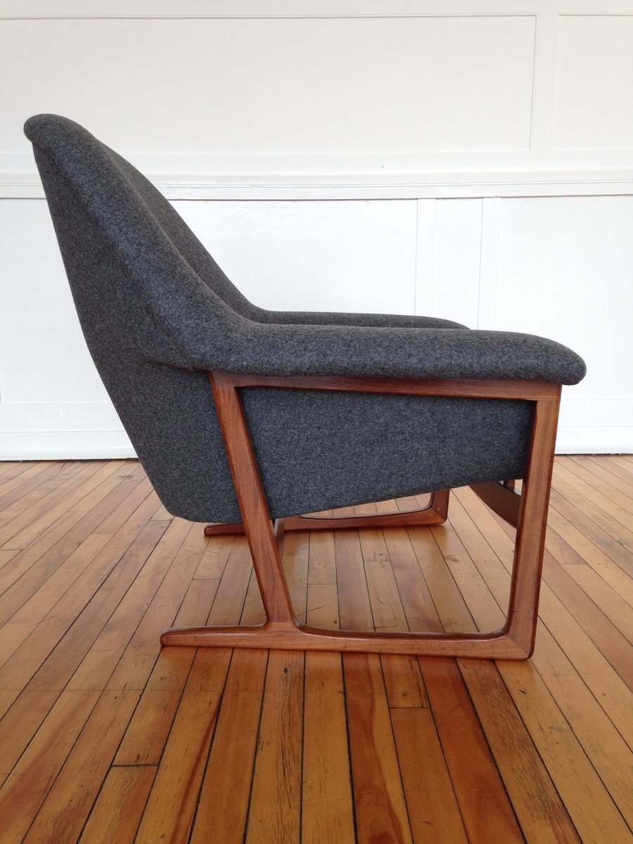 mid century danish teak and wool armchair 1960s for sale at pamono