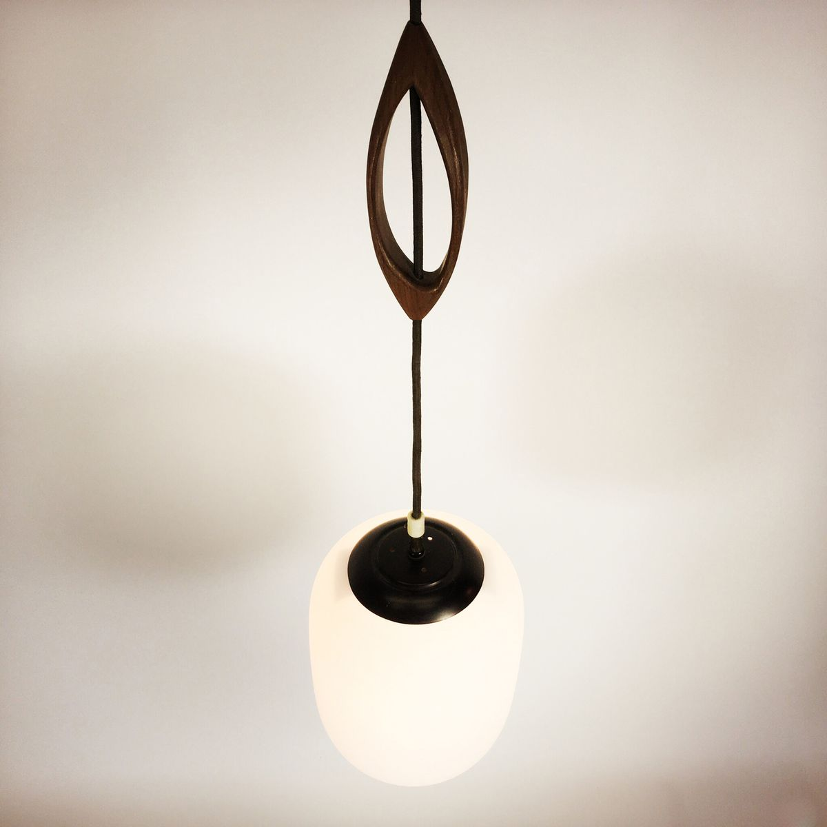 Glass Metal And Wood Hanging Lamp 1960s For Sale At Pamono