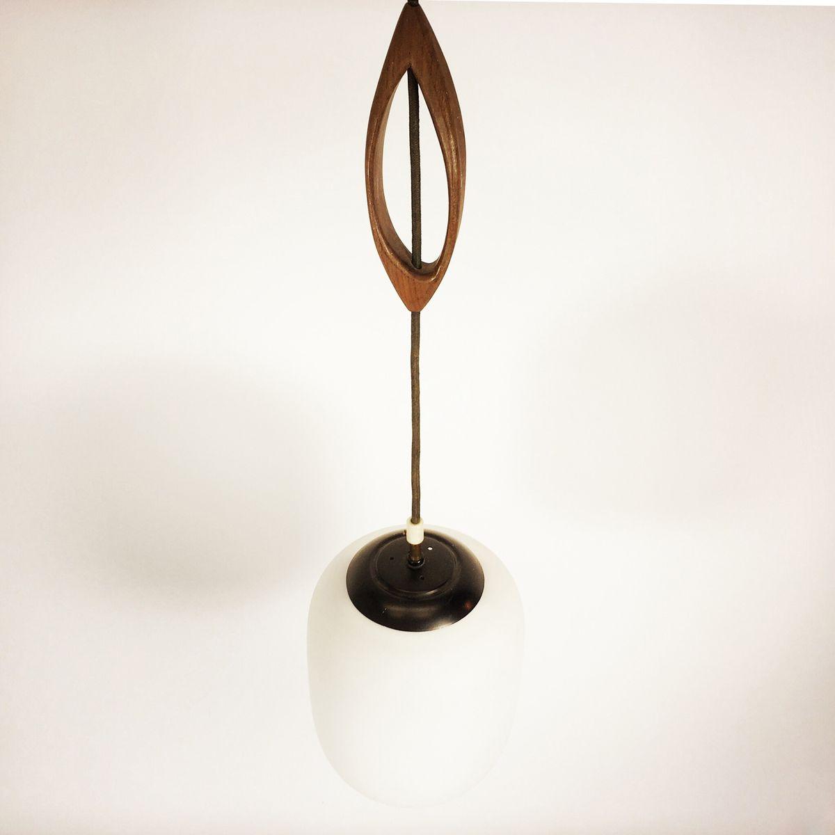 h ngelampe aus glas metall und holz 1960er bei pamono kaufen. Black Bedroom Furniture Sets. Home Design Ideas