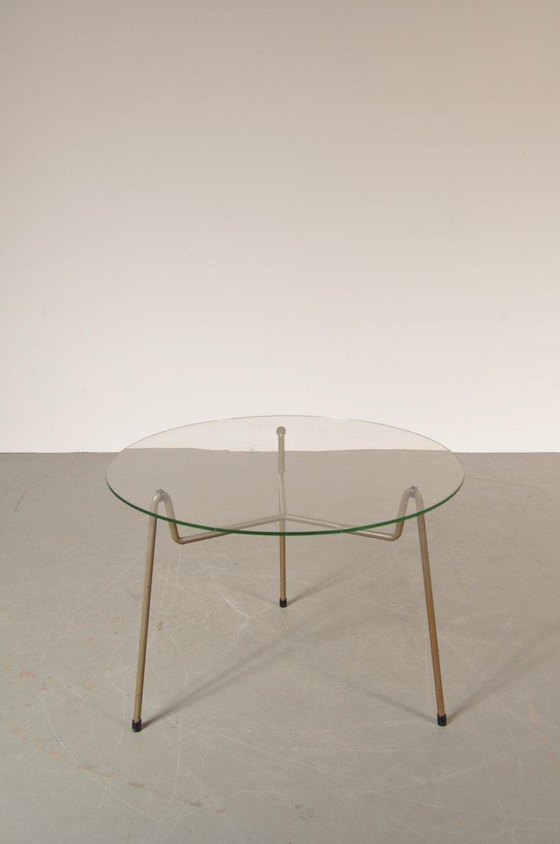 runder niederl ndischer couchtisch aus grauem metall glas von gispen 1950er bei pamono kaufen. Black Bedroom Furniture Sets. Home Design Ideas