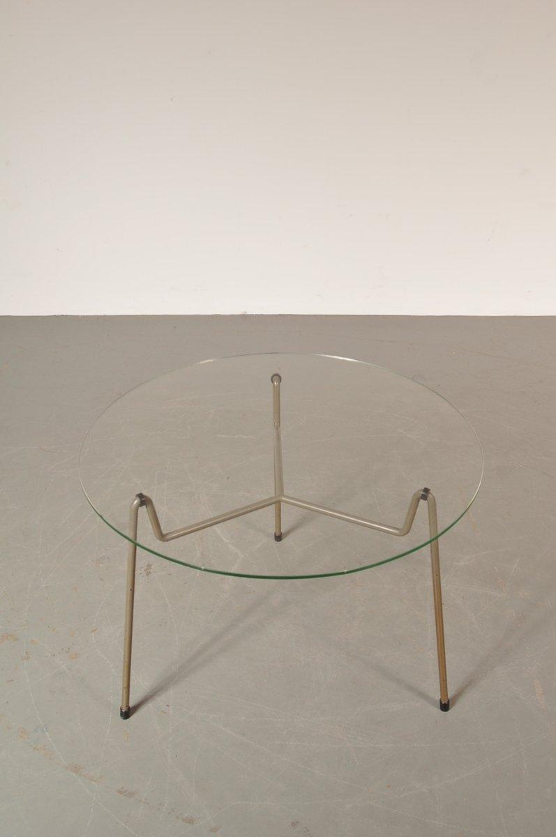 table basse ronde grise en m tal verre de gispen pays bas 1950s en vente sur pamono. Black Bedroom Furniture Sets. Home Design Ideas