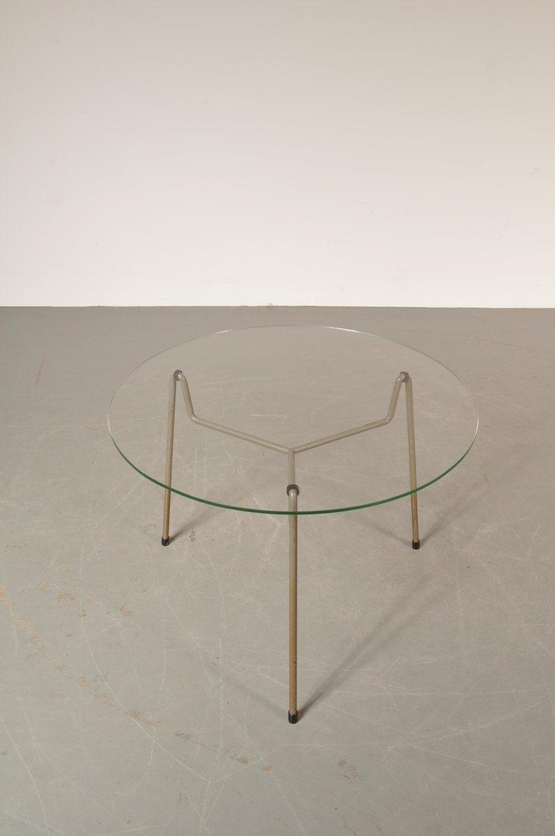 Table basse ronde grise en m tal verre de gispen pays bas 1950s en ve - Table basse ronde grise ...