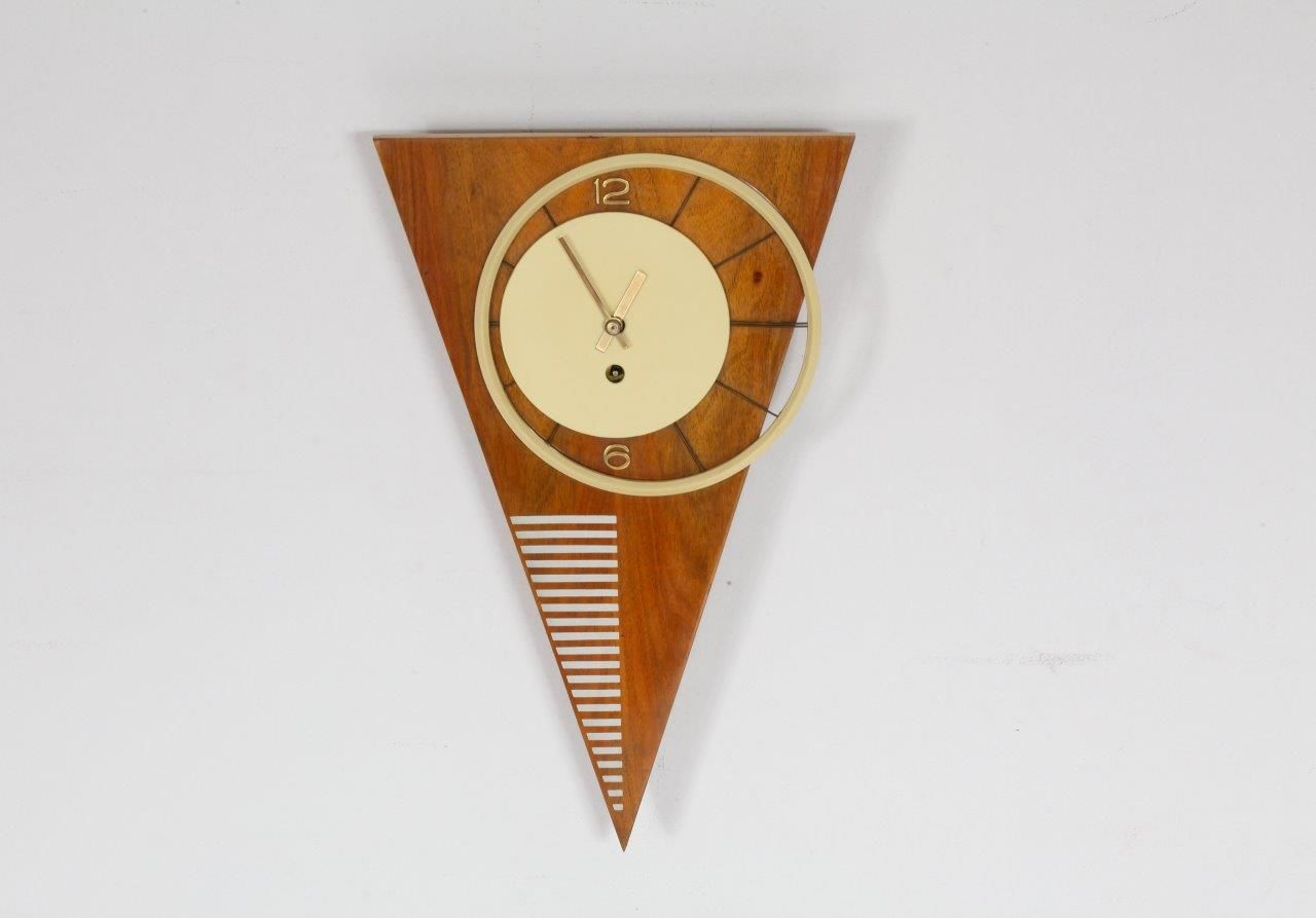 midcentury viennese asymmetric triangle wall clock  for sale  - midcentury viennese asymmetric triangle wall clock