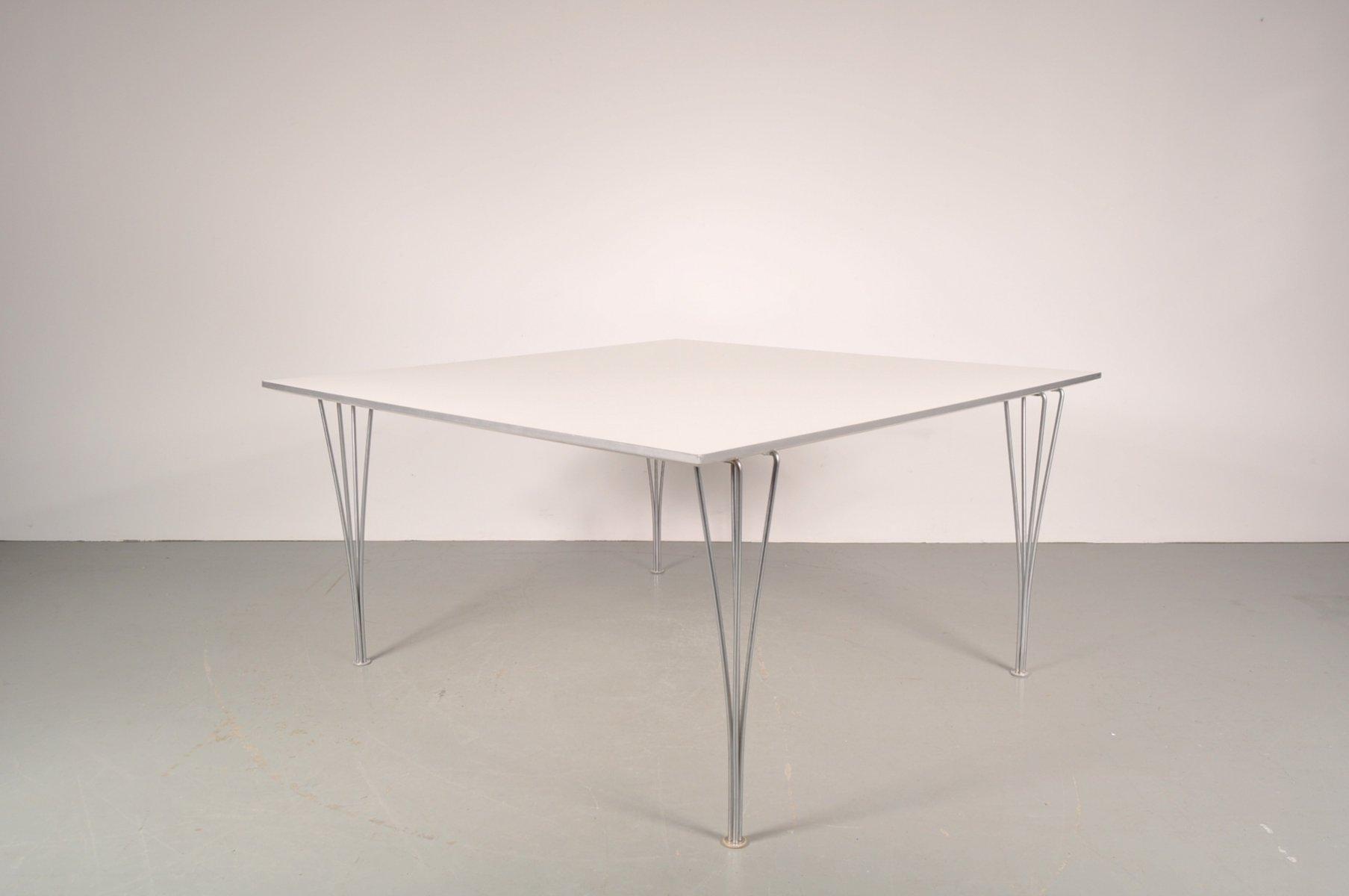 Large White Square Dining Table on Chrome Metal Legs from  : large white square dining table on chrome metal legs from fritz hansen 1960s 1 from www.pamono.com size 1807 x 1200 jpeg 48kB