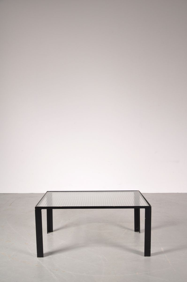 small black coffee table with safety glass top 1960s for