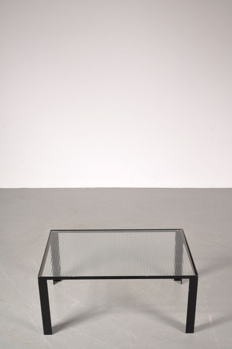 small black coffee table with safety glass top 1960s for sale at