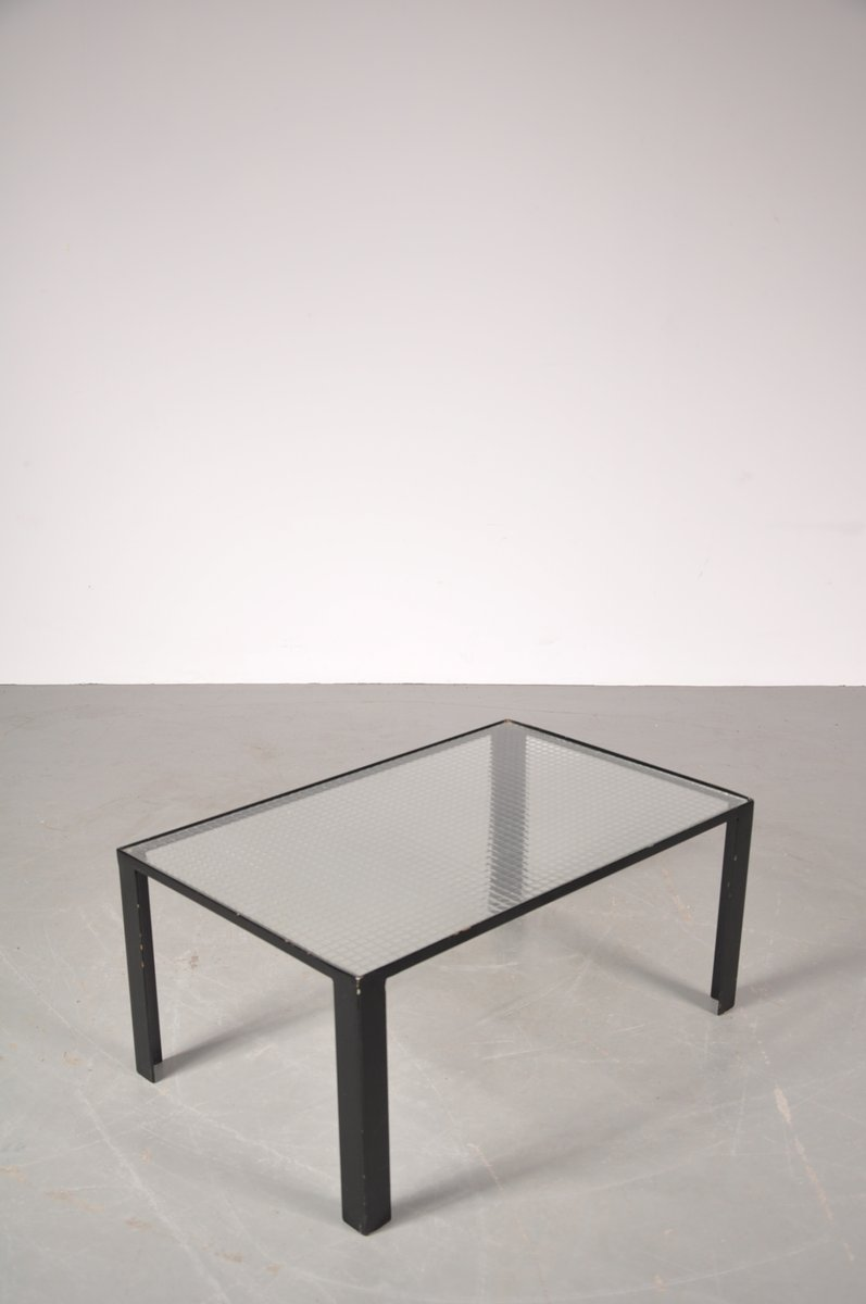 Small black coffee table with safety glass top 1960s for for Small glass coffee table