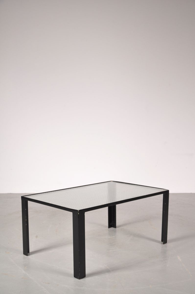 Small black coffee table with safety glass top 1960s for for Small black coffee table