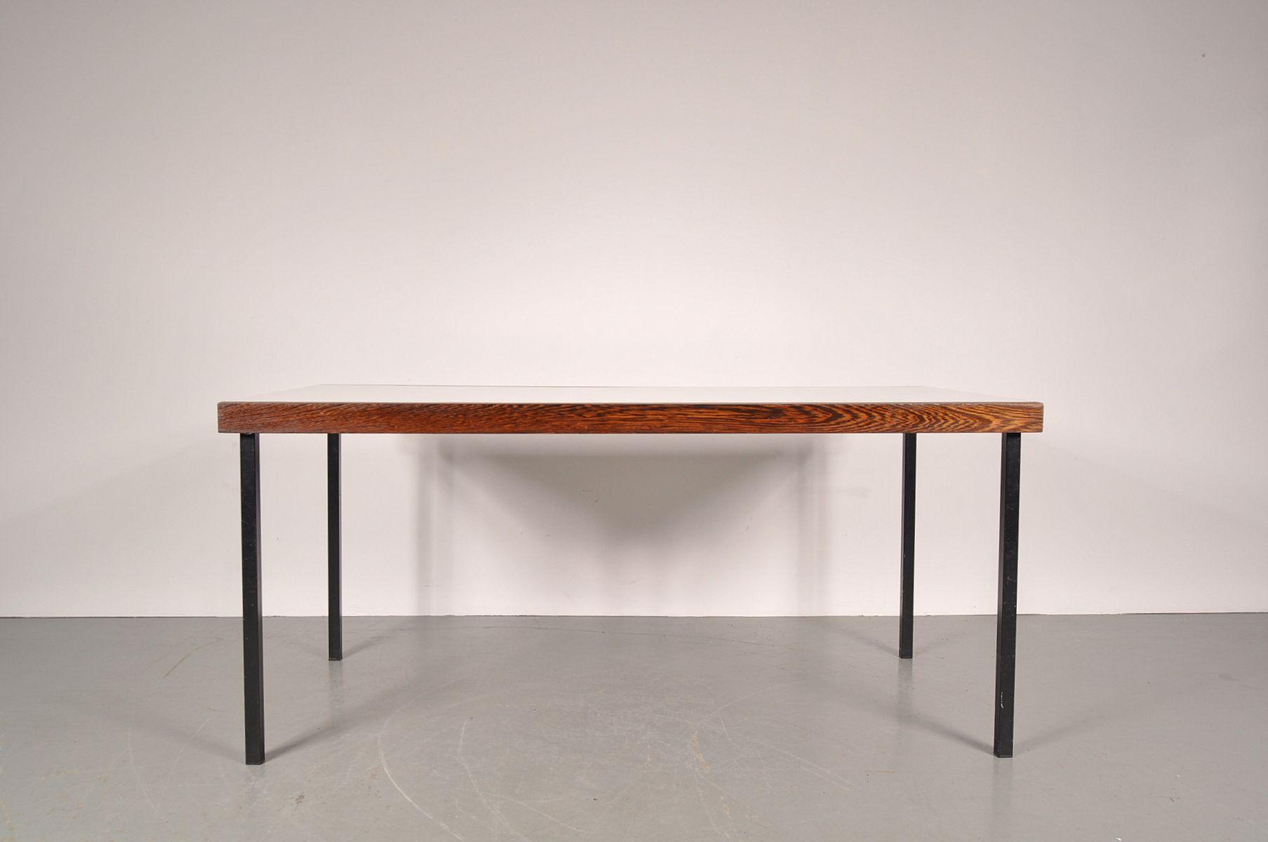 wengc white dining table on black metal base by martin visse