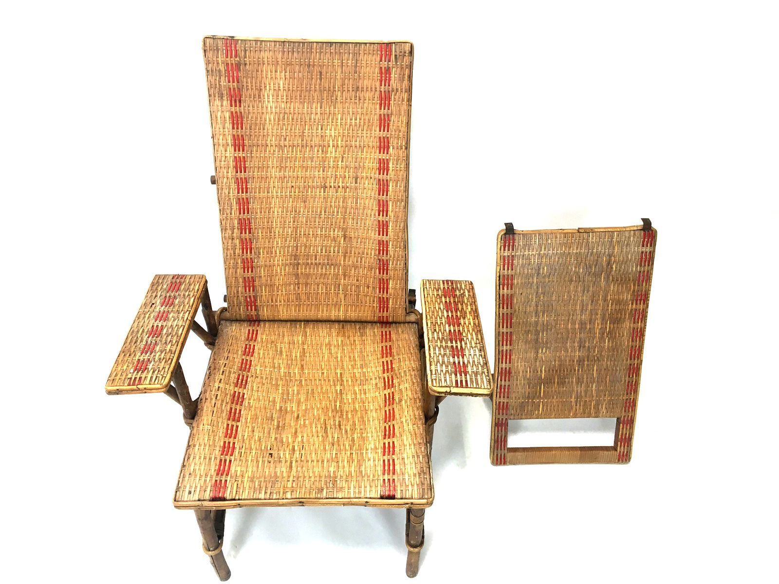 French wicker and bamboo chaise longue with footrest for Chaise longue france