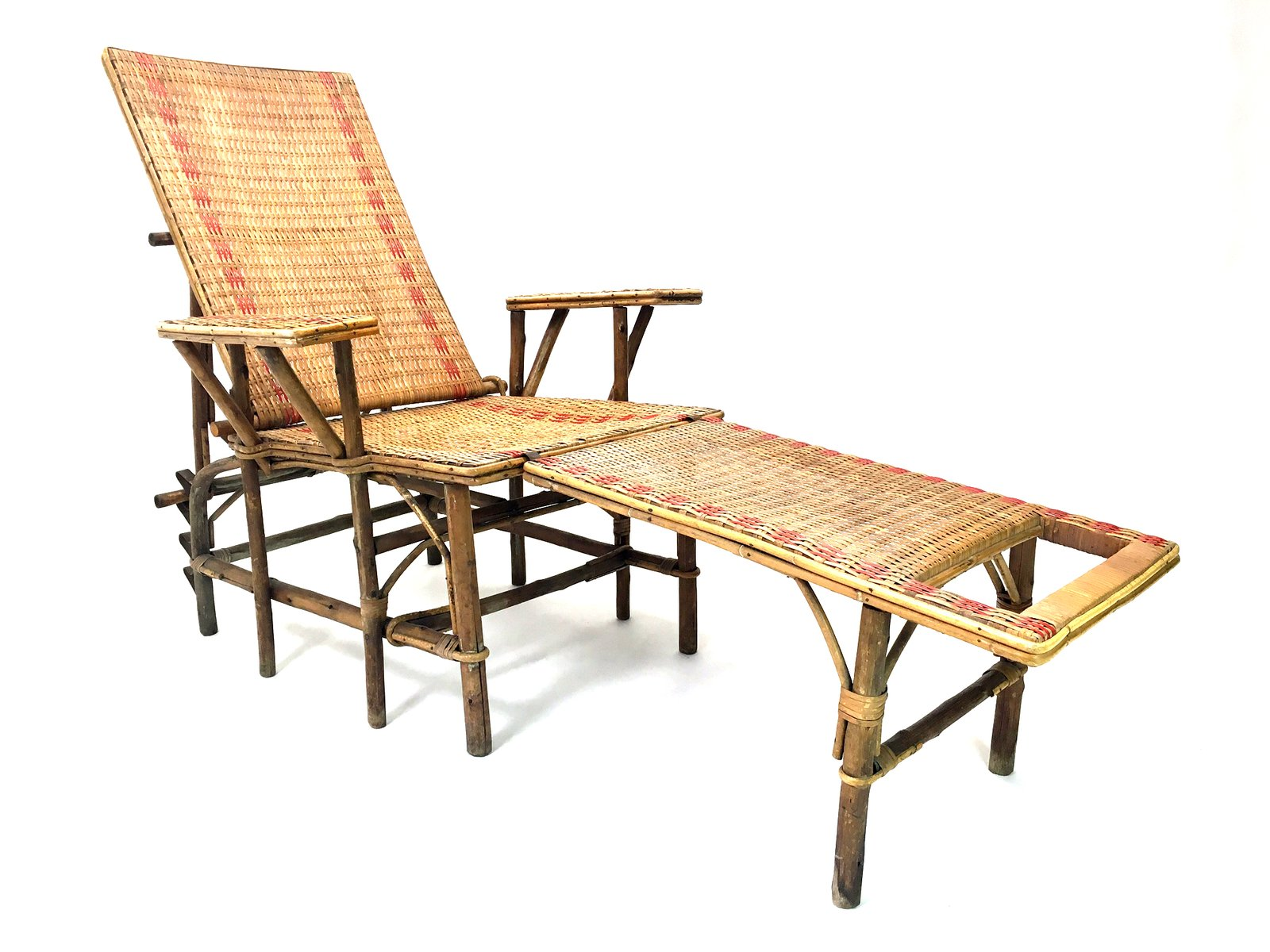 French Wicker And Bamboo Chaise Longue with Footrest 1920s for