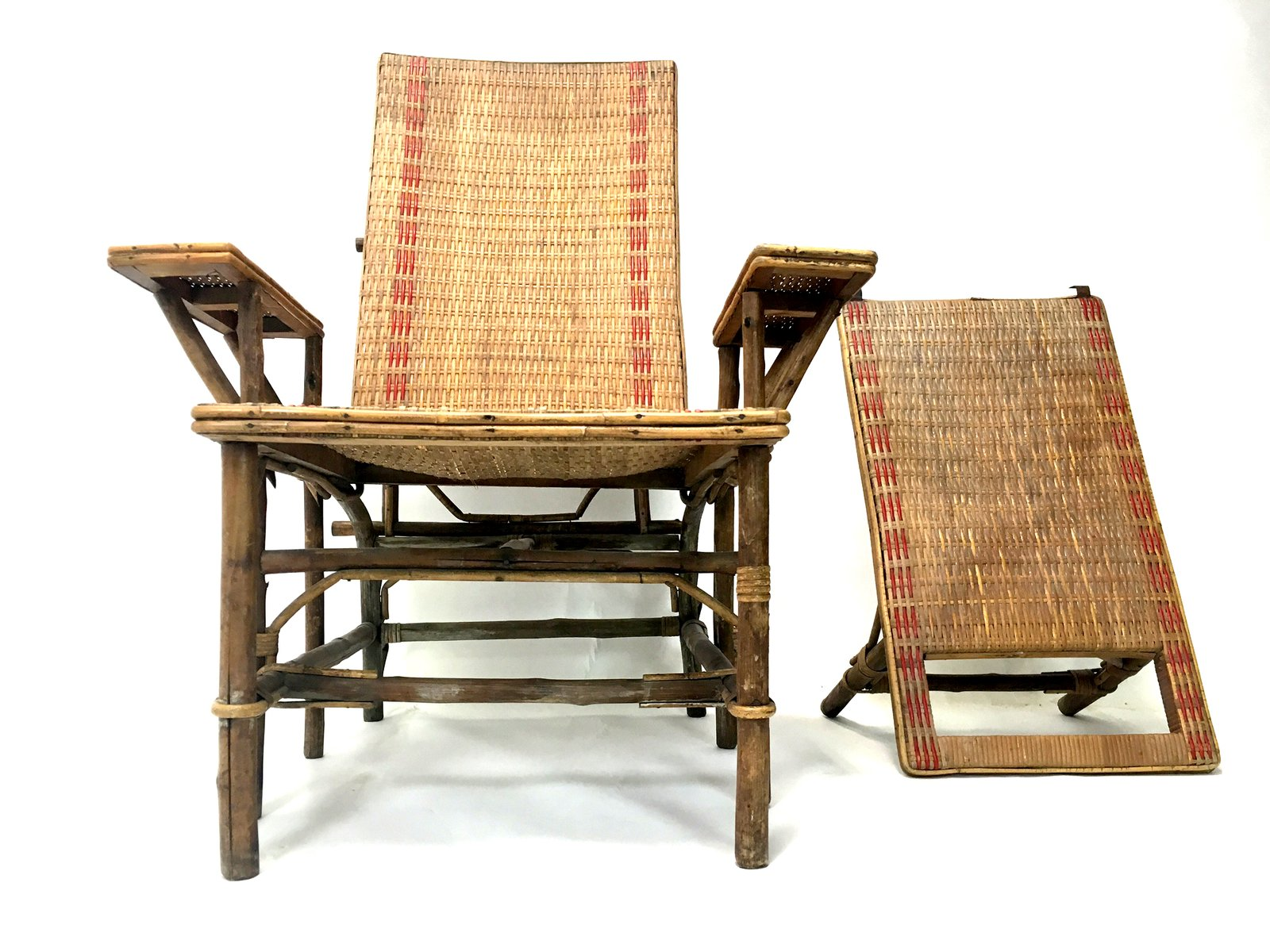 French wicker and bamboo chaise longue with footrest for Chaise longue bois avec repose pied