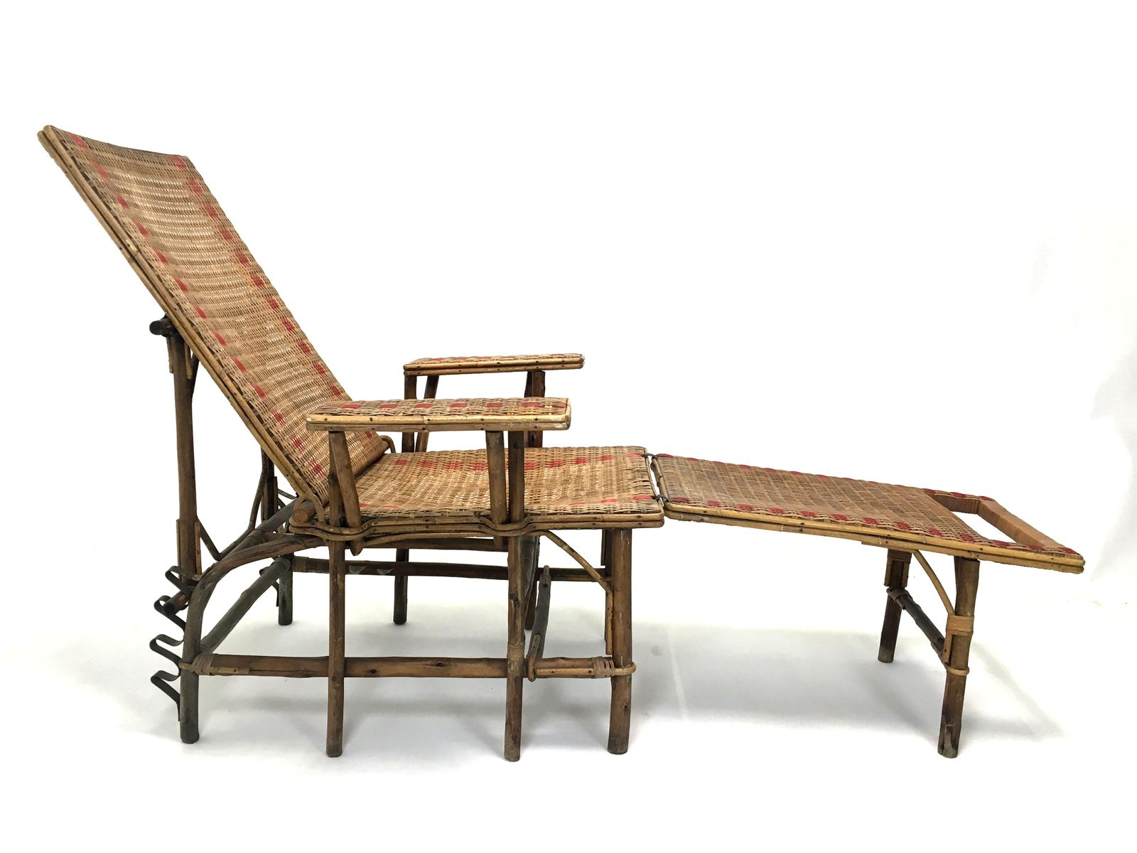 French wicker and bamboo chaise longue with footrest for Chaise longue for sale ireland